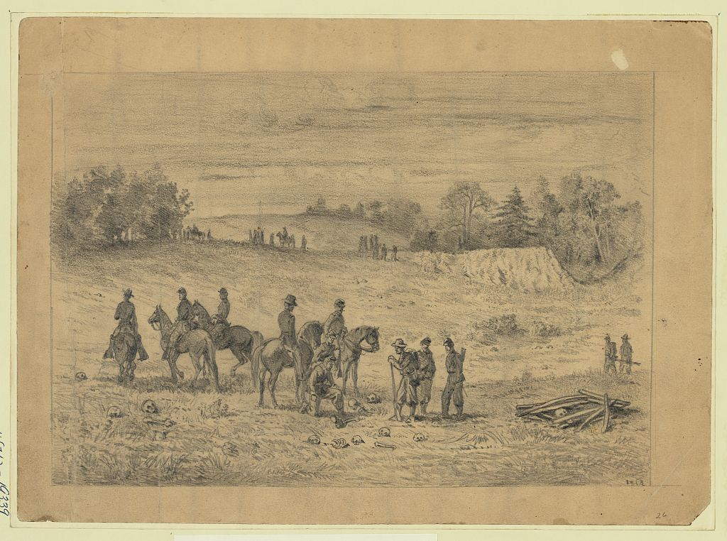 Union soldiers find remains of their comrades on the Second Bull Run battlefield, 1863 by Edwin Forbes (Library of Congress)