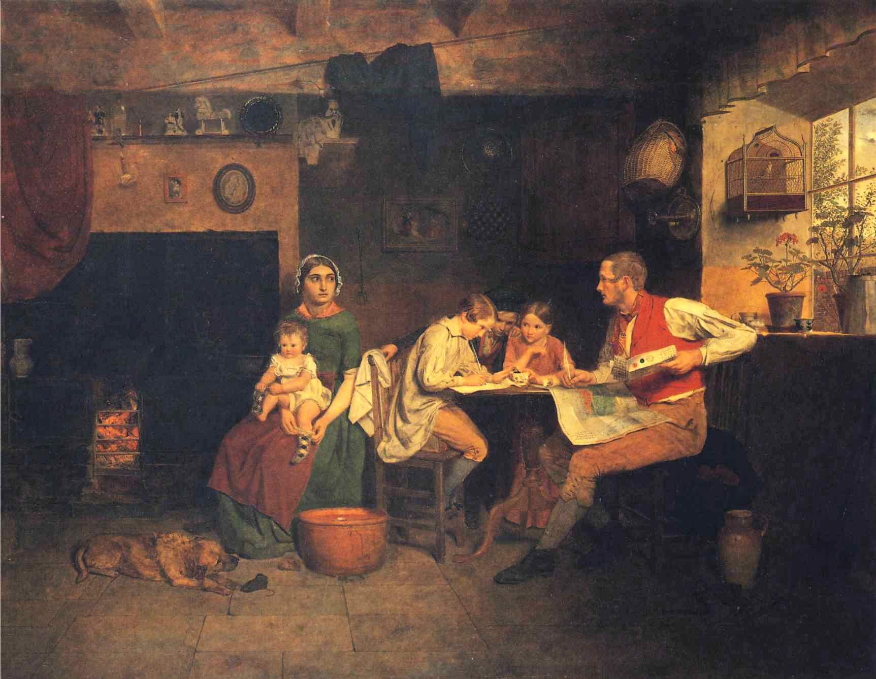 """Answering the Emigrant's Letter"", an 1850 painting by James Collinson, depicting an English family replying to correspondence from Australia (Manchester Art Gallery)"