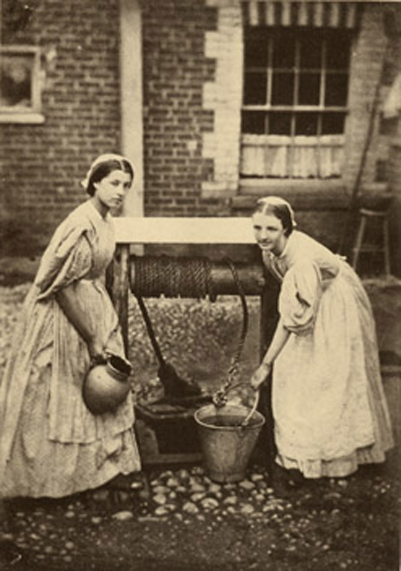Maids draw water from a well, 1864. Johanna spent the majority of her life in domestice service in Ireland and America (Oscar Gustave Rejlander)