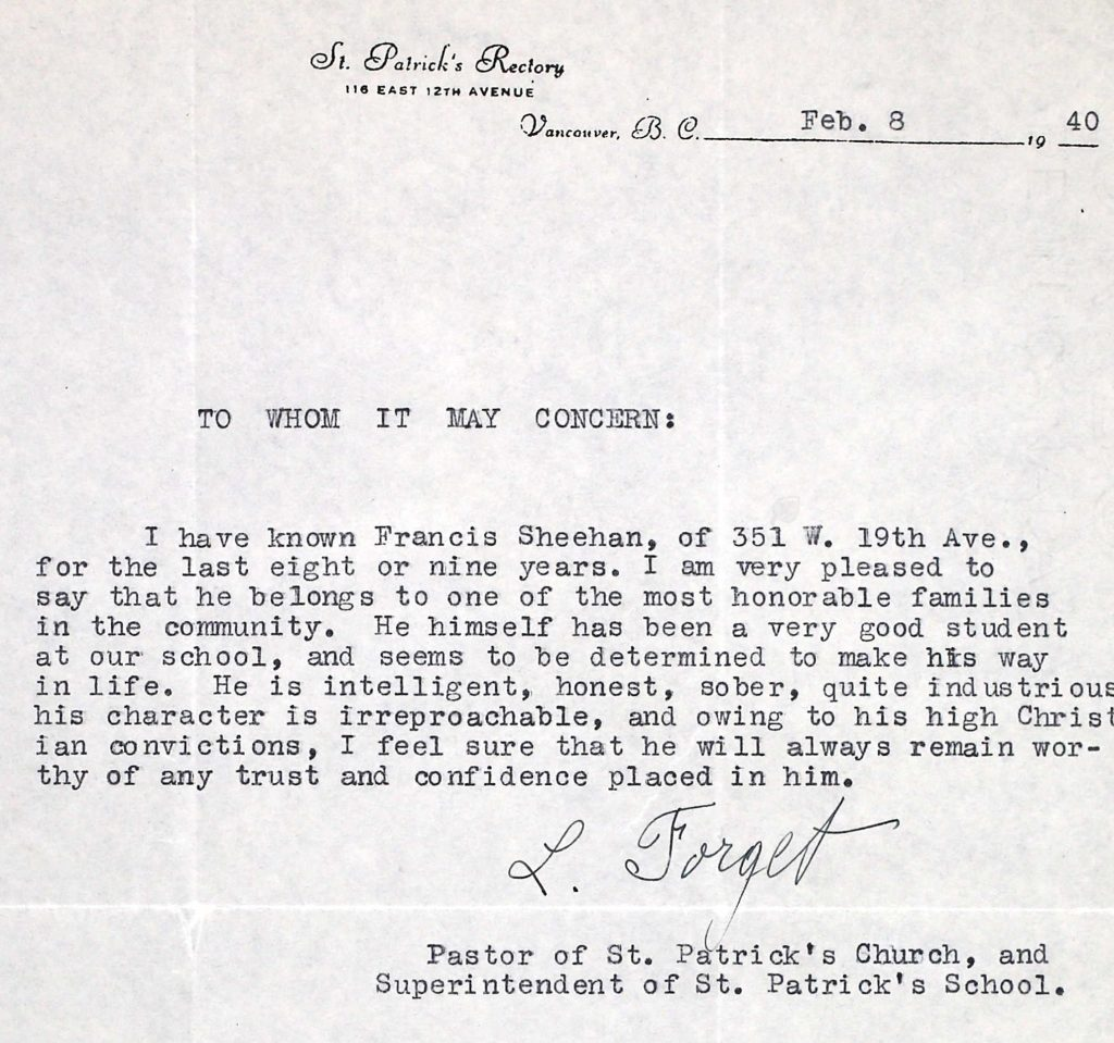 The reference Frank Sheehan received from his former school when he was seeking to join the air force (Library and Archives Canada, Ottawa, Canada)