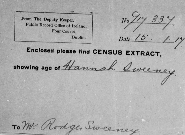 Census Extract Cover for Hannah Sweeney, 1917