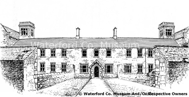 Drawing of the front facade of Dungarvan Workhouse, William Fraher (Reproduced with permission of Waterford County Museum)