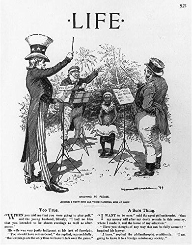 """Studying to Please"" from Life magazine, 1899. It depicts Uncle Sam, John Bull, and Bismarck trying to teach a Samoan their respective national anthems (Library of Congress)"
