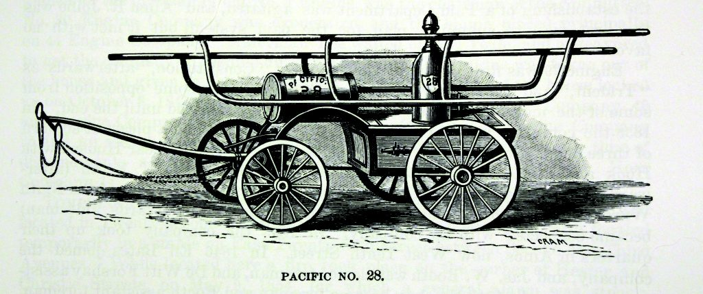 "New York Engine No.28 ""Pacific"". Affiliation to specific fire companies was something Irishmen in New York had tattooed on their bodies (Our Firemen)"