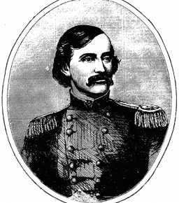 Colonel James A. Mulligan, commander of the 'Chicago Irish Brigade', the 23rd Illinois Infantry. The New York born Irish-American had recently been involved in the First Battle of Lexington, Missouri when this was printed on 19th October. He would later be mortally wounded at Second Kernstown in 1864 (New York Irish American)