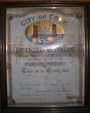 Humphrey's Licensed Vintner's Trade Protection Association Membership in The Cotton Ball pub (Damian Shiels)