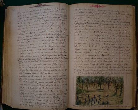 Pages from Andrew's remarkable memoir, together with his sketch of the Battle of Cedar Creek (Damian Shiels)