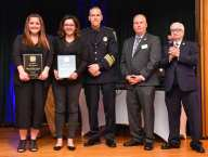 Live Saving Award presented to Malden Police Officer Katelyn Murphy, left, and Malden Police Officer Noelle Bowie-Pierce, right, pose for a photo with Malden Police Chief Kevin Molis, Robert Sweetland, president, and Paul Upton, first vice president, at the Irish American Police Officers Association Annual Awards Dinner held at The Malden Irish American Club in Malden on Saturday, May 4, 2019. Photography by David Sokol