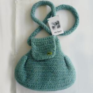 Meli Bondre Donegal Tweed Candy Crochet Felted Bag - Aqua - $59.75