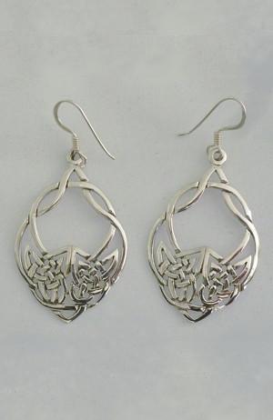 Sterling Silver Interwoven Celtic Dangle Earrings - $44.00