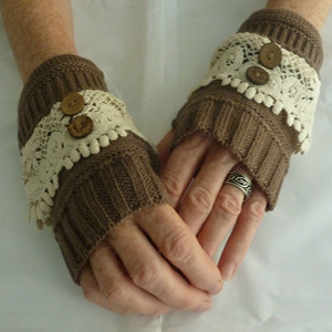 Brown Irish Lace Fingerless Mittens - $19.00