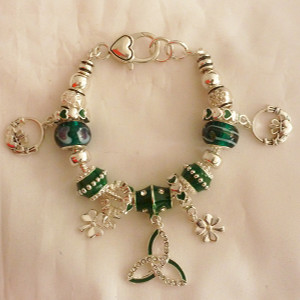 Best Seller! Pewter & Murano Glass Irish Charm Bracelet - $28.75