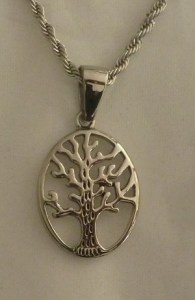 Stainless Steel Teardrop Tree of Life Necklace - $26.00