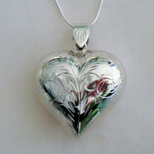Irish Sterling Silver Engraved Heart Puff Necklace - $69.00