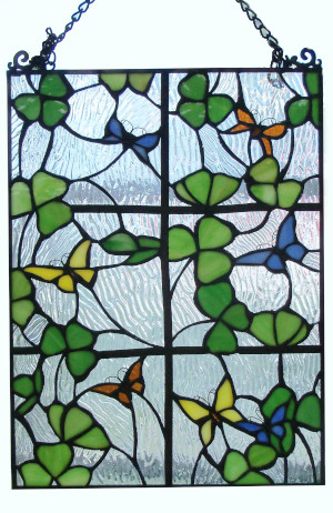 Shamrocks In and Out the Stained Glass Window - Wow! - $145.00