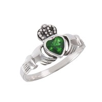Sweet! Ladies Green Gemstone/Silver Claddagh Ring - $32.75