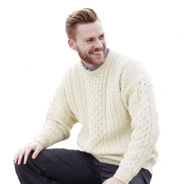 Traditional Classic Unisex Aran Knit Fisherman's Sweater