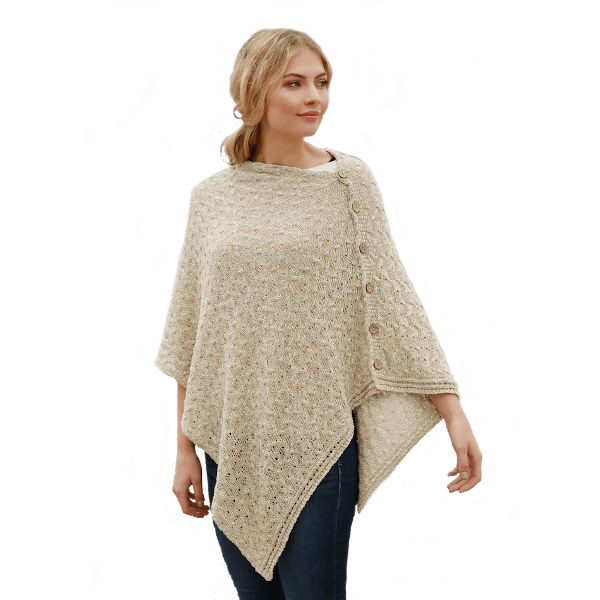 Aran Woolen Mills Four-Season Buttoned Cape