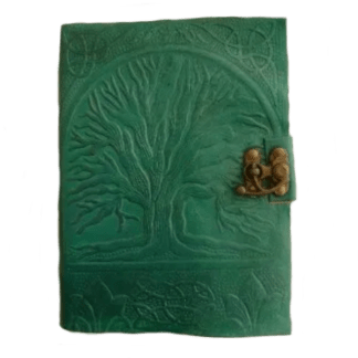 Green Tree of Life Leather-Bound Parchment Journal $28.00