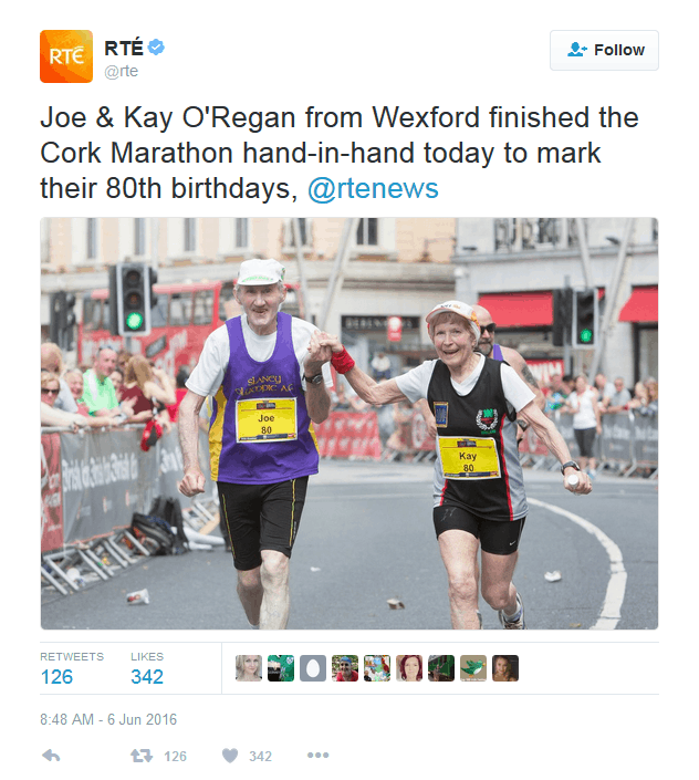 Couple in Marathon-80 Year Old Irish Couple Finish Marathon