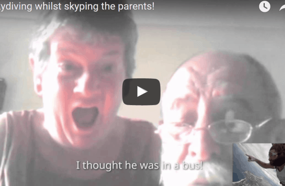 - Irish lad Skype calls his parents while skydiving