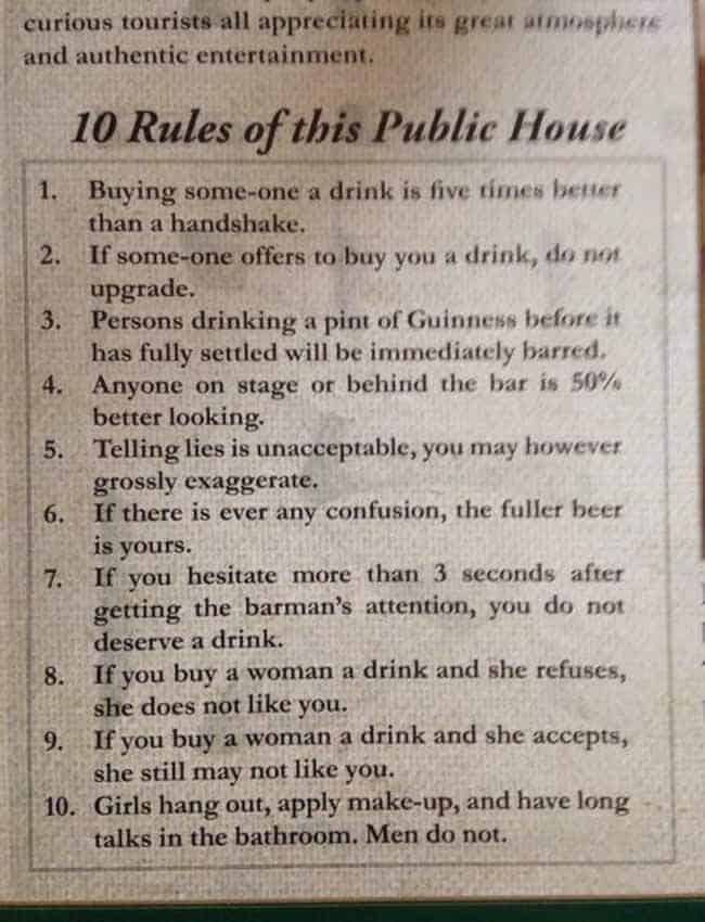 What are the top unbreakable rules in an Irish pub