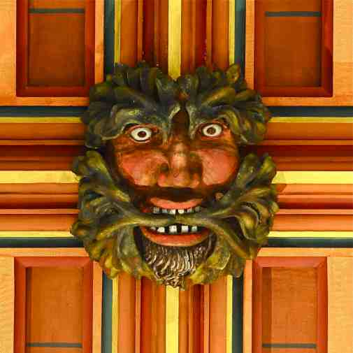 Painted wooden roof boss from Rochester Cathedral, Kent (medieval)
