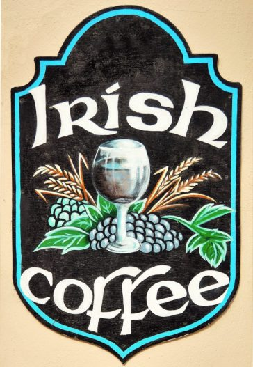 Irish coffee advertisement on pub wall