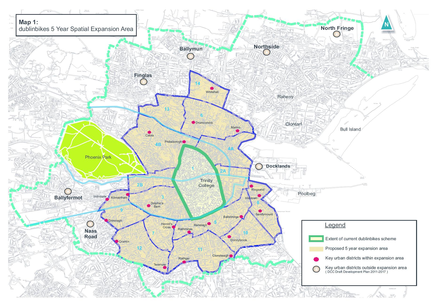 Maps Of Dublin Suburbs.Dublin Bikes Expansion Map Irishcycle Com