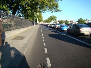 A current shared bus/cycle lane on the quays.