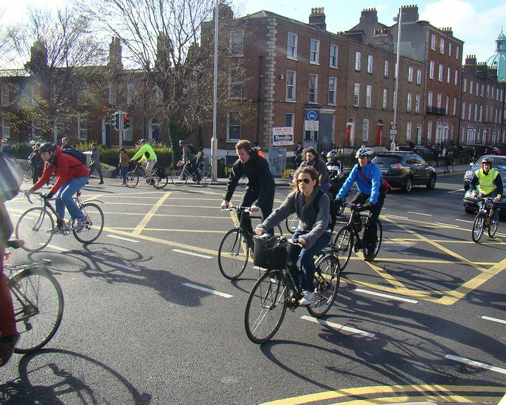 Cyclists in Dublin Rathmines route