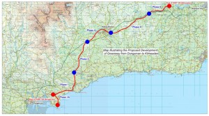 Dungarvan to Kilmeaden Greenway route map