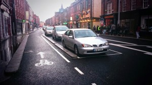 Parking Protected contra-flow in Cork. Image: Keith Byrne