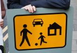 Proposed Irish sign for residential area without pedestrian priority and no specific legal protection for playing children