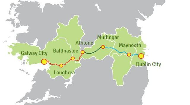 Dublin - Galway Greenway route map