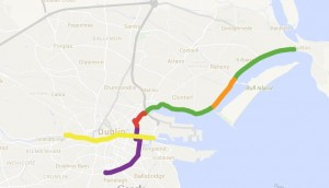 S2S open sections = green; S2S under construction = orange : stalled section = red; open canals route = purple; planned Liffey Cycle Route = yellow