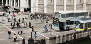 IMAGE: Mixing bicycles and buses on College Green (Image: DCC/NTA)