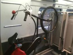 IMAGE: Bicycles can only be kept in racks on Irish Rail intercity and long-distance commuter railcars
