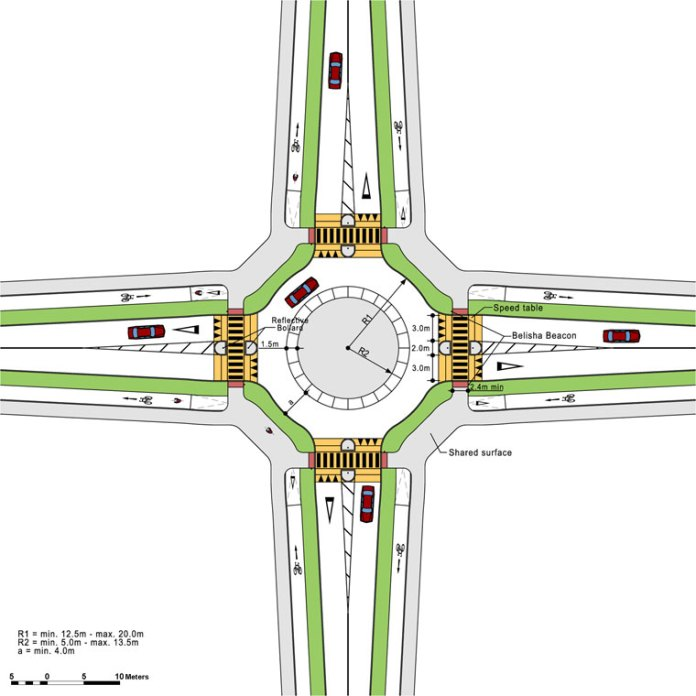 """IMAGE: The main 3D image and the above 2D image show the National Cycle Manual design for """"Fully Segregated Roundabouts"""" (cyclemanual.ie / NTA)"""