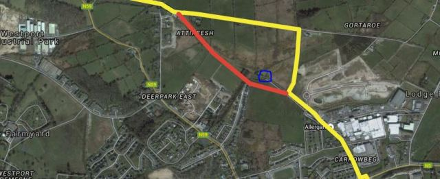 Route in Westport with blue circle