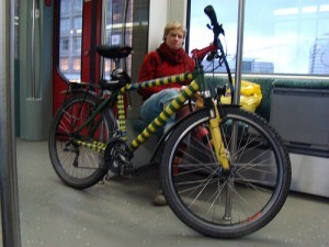 IMAGE: A bicycle on an S-Ban train in Berlin
