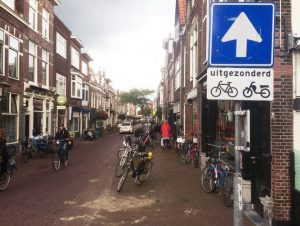 IMAGE: Allowing bicycles to go two-way on one-way streets is common in cycling-friendly countries