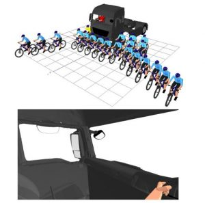 "IMAGE: ""The upper image shows the number and location of cyclists that can be placed around an example vehicle cab without being seen through direct vision, and the lower image shows the driver's view through the windows."""