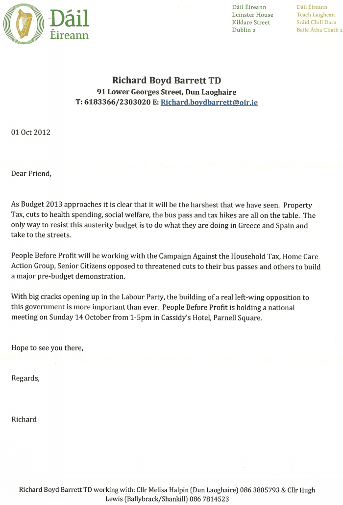 Letter From Richard Boyd Barrett Concerning The People