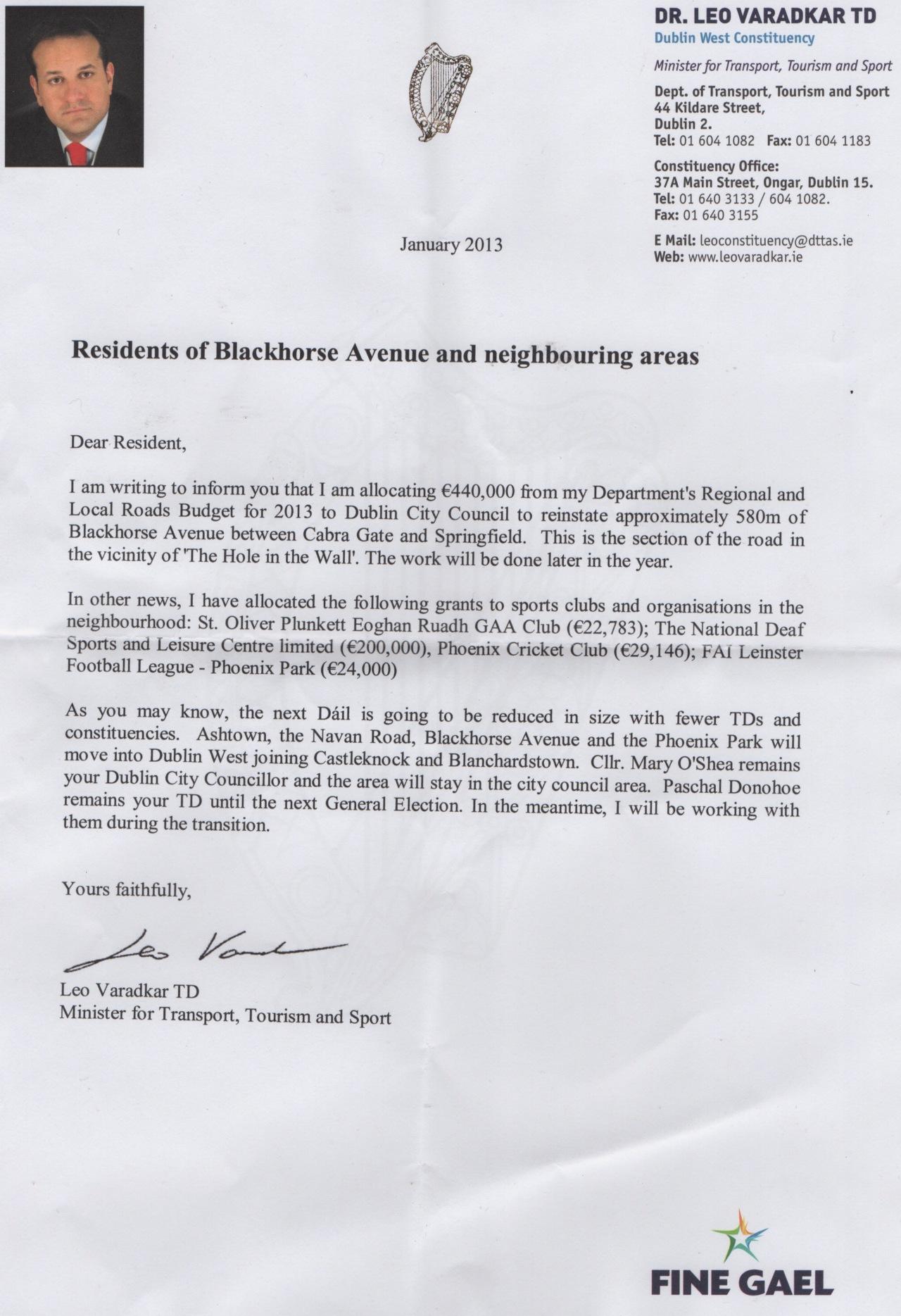 Letter from Minister Leo Varadkar outlining grants issued