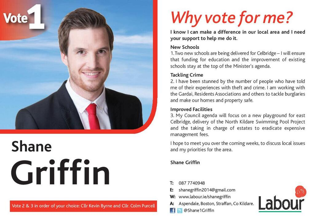 Flyer From Shane Griffin Labour – Celbridge 2014 Local
