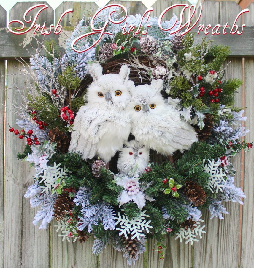 Deluxe Rustic Woodland White Winter Owl Family Wreath