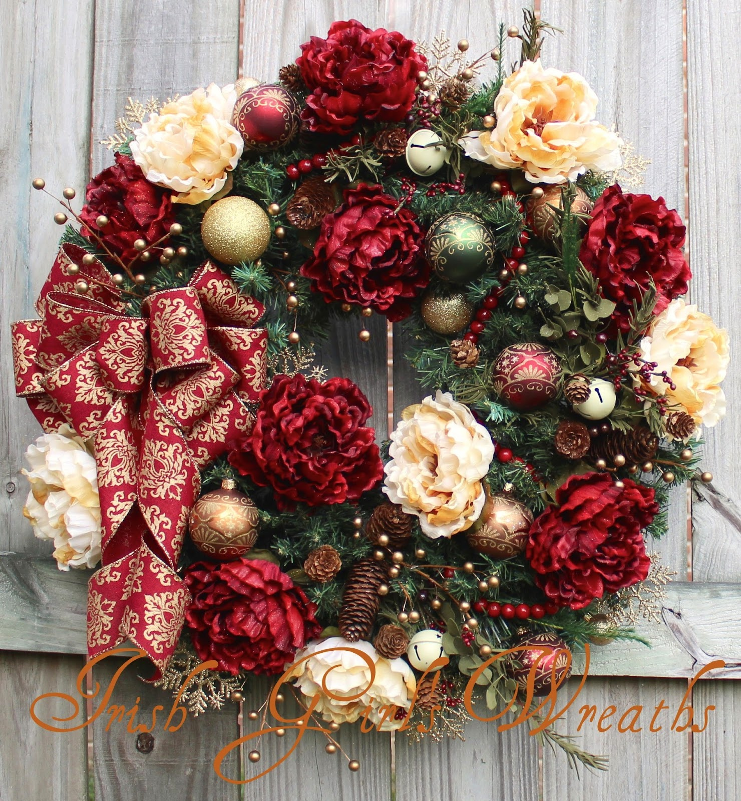 burgundy cream peony rustic elegant christmas wreath - Elegant Christmas Wreaths
