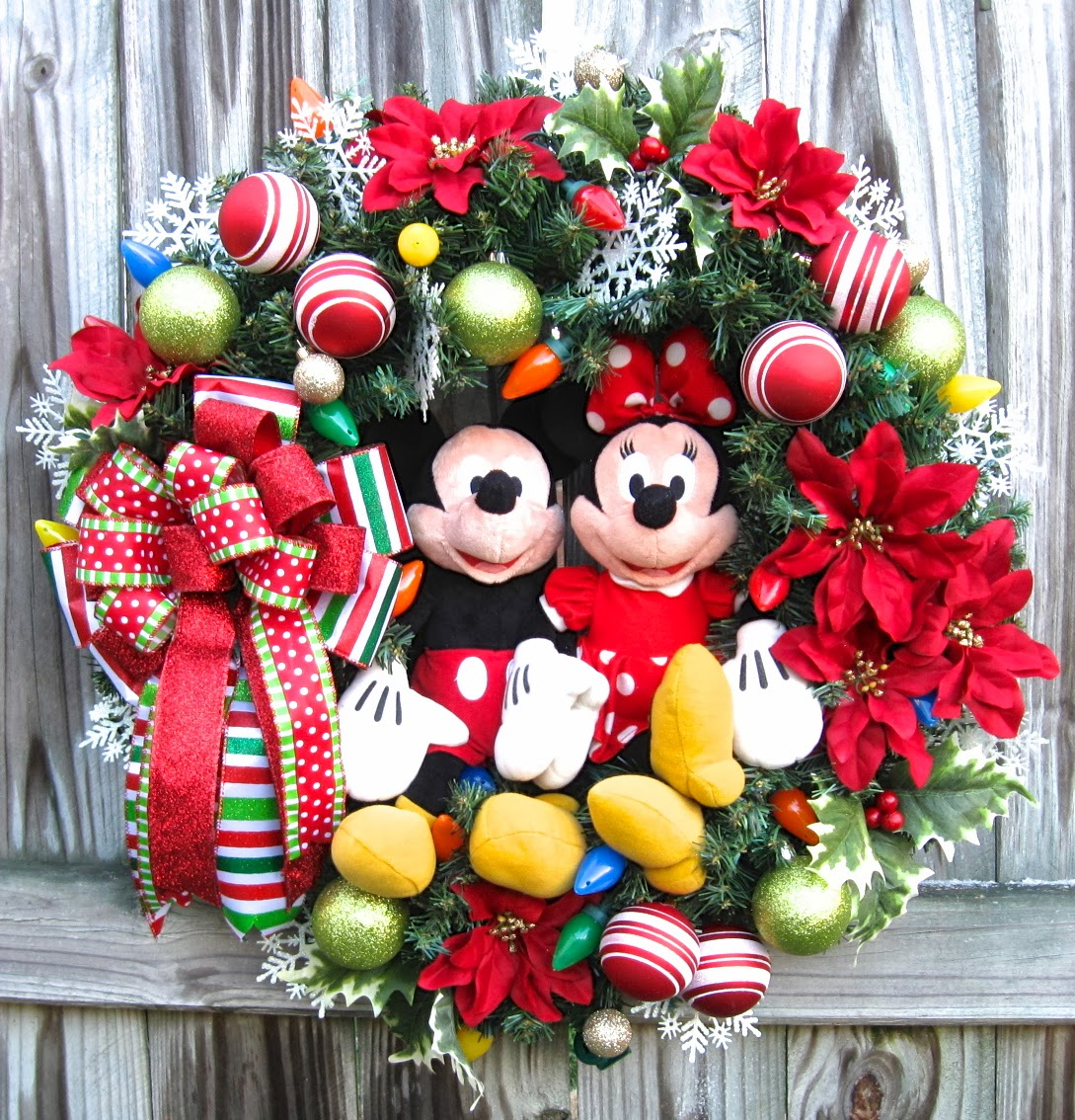 custom order disney mickey and minnie mouse christmas wreath - Mickey Mouse Christmas Wreath