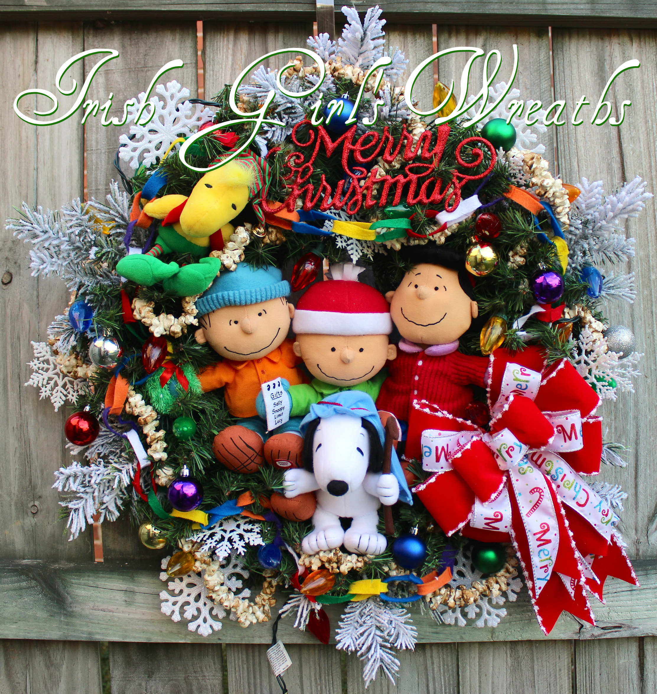 deluxe charlie brown peanuts gang merry christmas wreath